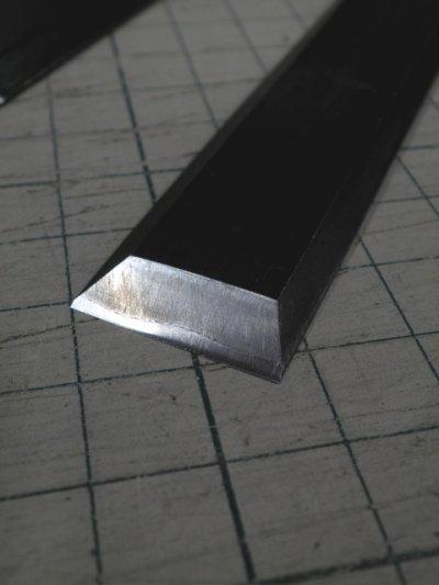 画像1: 革スキ包丁 鋼 直刃