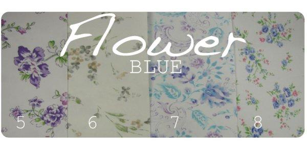 画像1: 製本用クロス ●FLOWER・BLUE (1)