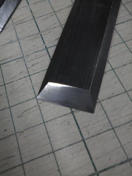 画像1: 革スキ包丁 鋼 直刃 (1)